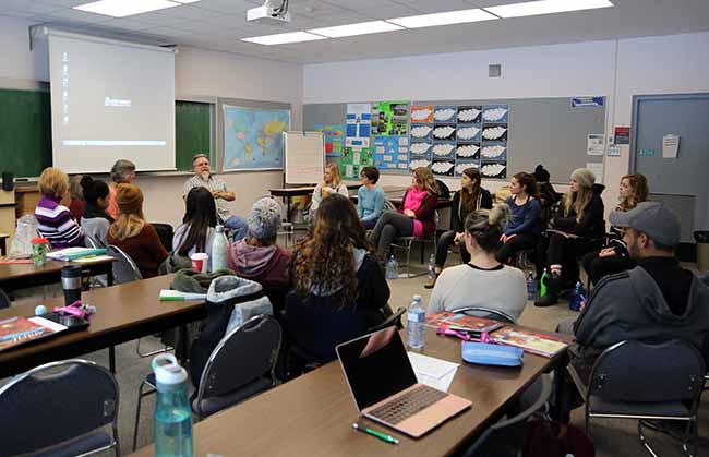 Our patient partner Dean Wilson talks about Residential School Survivorship to a group of nursing students in Terrace, in November 2017