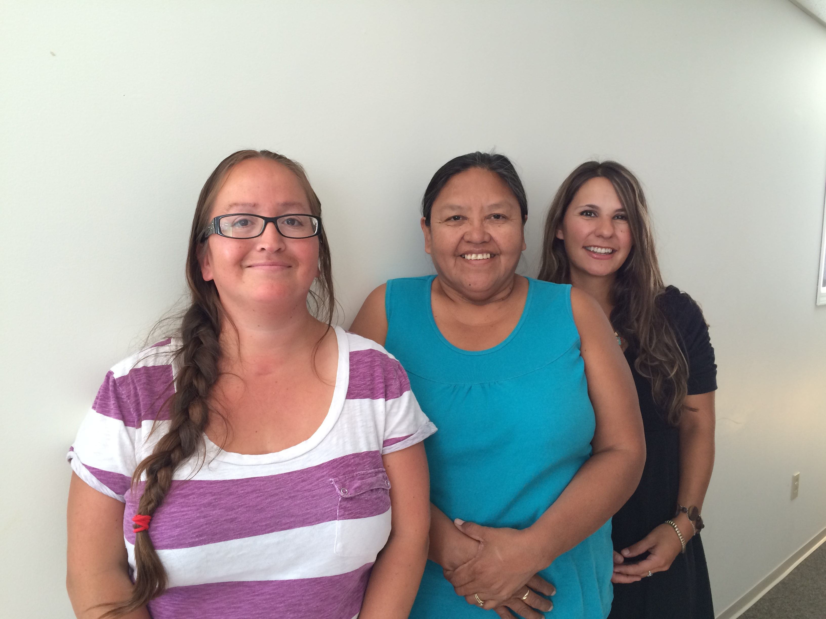 Chrystal Williams, Phyllis Rosette and Kristina Moller, three of our Indigenous patient partners in a photo taken during a meeting in Williams Lake in August 2016