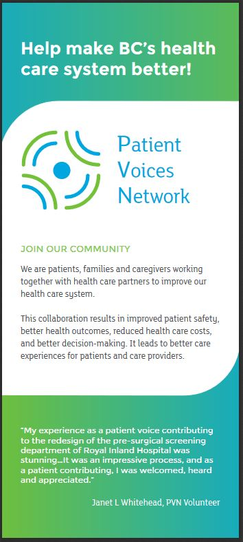 PVN Rack Card.Quick and clear information about the Patient Voices Network