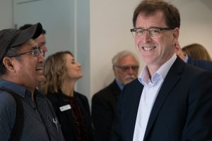 Chad (left) shares a laugh with Minister of Health Adrian Dix at the opening of the UPCC.