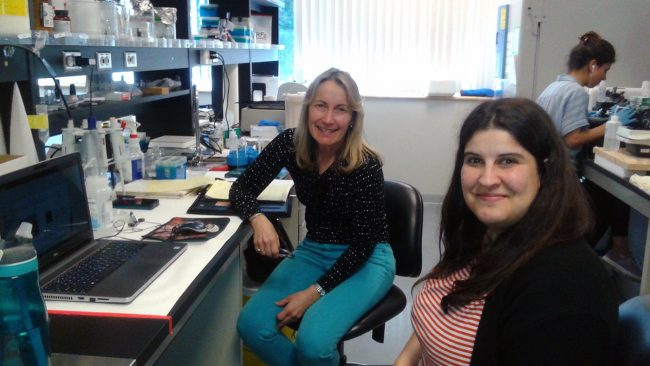 Lisa Ridgway working with Dr. Raquel Romay-Tallon on the biomarkers project in Dr. Caruncho's lab at UVIC.2019