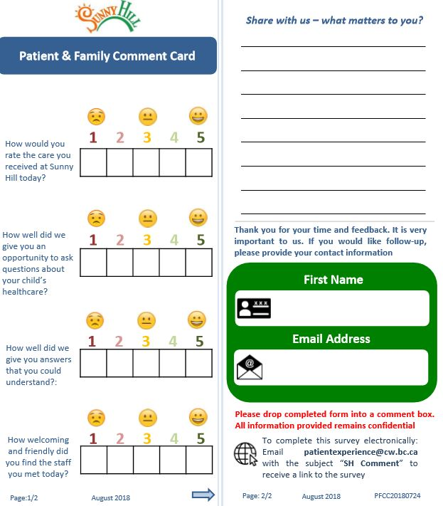 Sunny Hill What Matters to You patient card