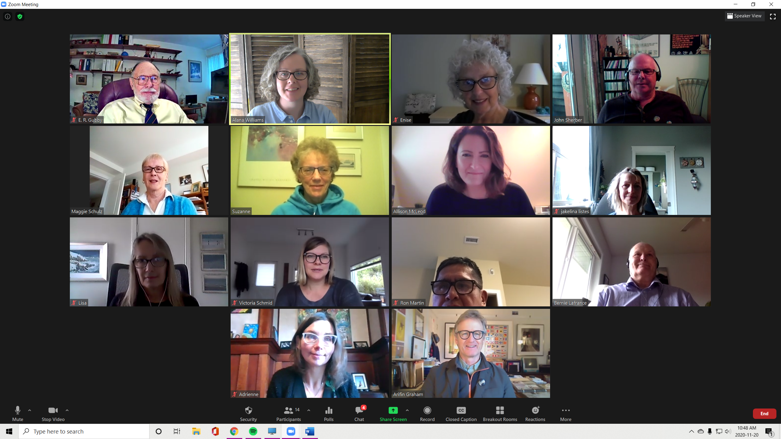 A Zoom meeting with Island Health and patient partners