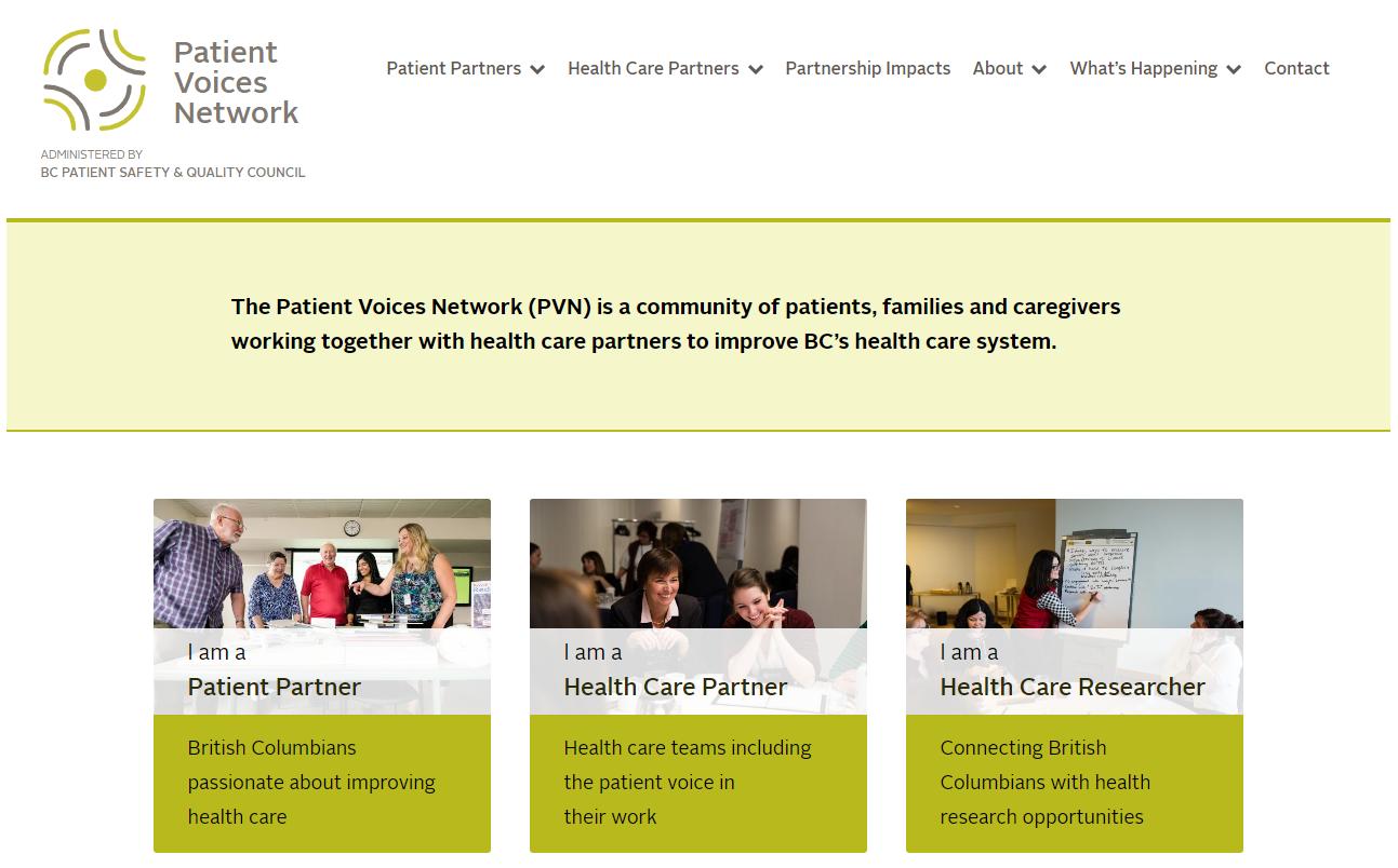 Screenshot of the PVN homepage