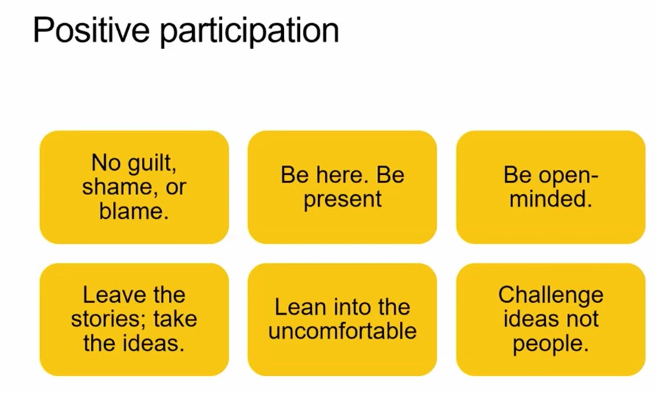 """""""Positive Participation"""" at the top. Below is six yellow rectangles, organized with three across and two down. Top left: """"No guilt, shame, or blame"""". Top middle: """"Be here. Be present."""" Top right: """"Be open-minded."""" Bottom right: """"Leave the stories; take the ideas."""" Bottom middle: """"Lean into the uncomfortable."""" Bottom right: """"Challenge ideas not people."""""""